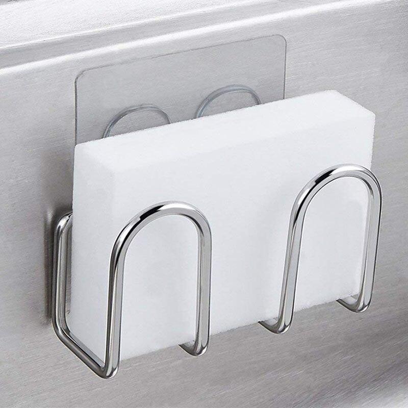 Soporte de esponja para fregadero, estropajos de acero inoxidable de Metal, estante de secado de jabón, escurridor de esponja para fregado de fibra, organizador de accesorios de cocina