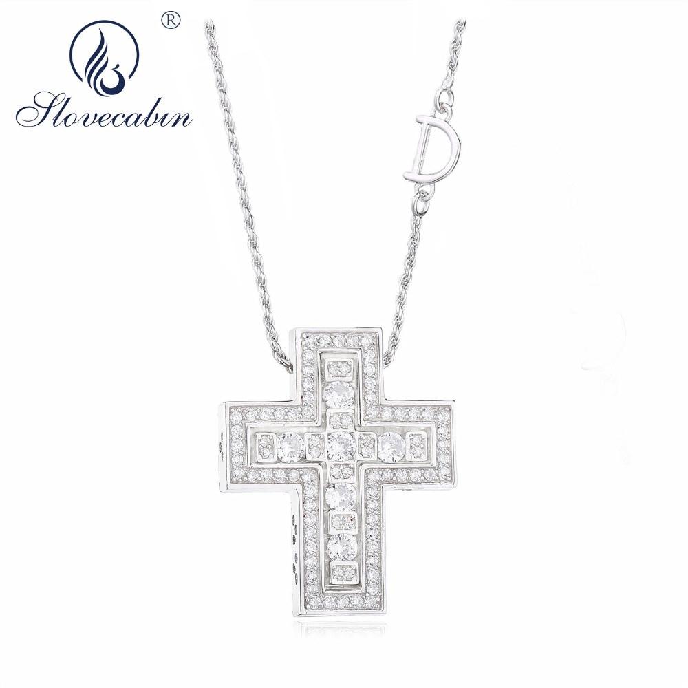 Slovecabin agujero cruz doble D cadena con letras Belle Epoque Zircon colgante collar joyería 100% 925 plata esterlina Italia Luxulry
