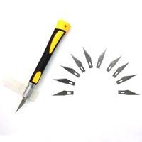 Металлический Скальпель с нескользящим покрытием, 11 ножей SK5 лезвия для резьбы по дереву, ручные инструменты скульптурный гравировальный н...
