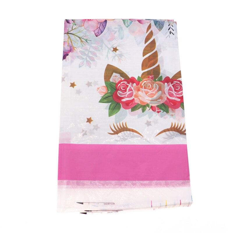 Cubierta de tela de plástico rosa de unicornio de dibujos animados de 108*180 cm, decoración de fiesta para niños, suministros de decoración para fiesta de cumpleaños