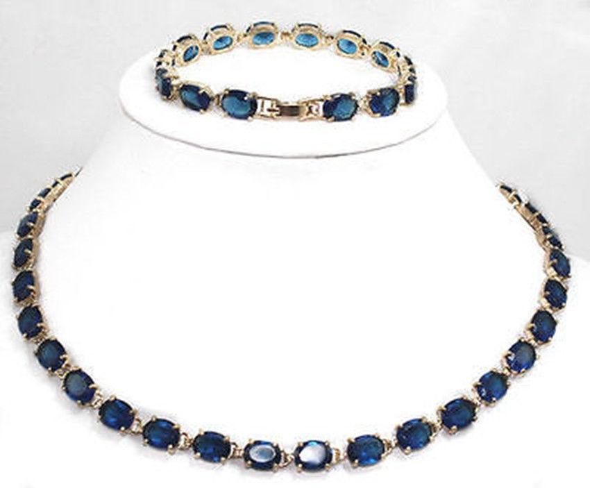 WE17 подлинное темно синее турмалиновое ожерелье из танзанита браслет ^ @ 18K GP