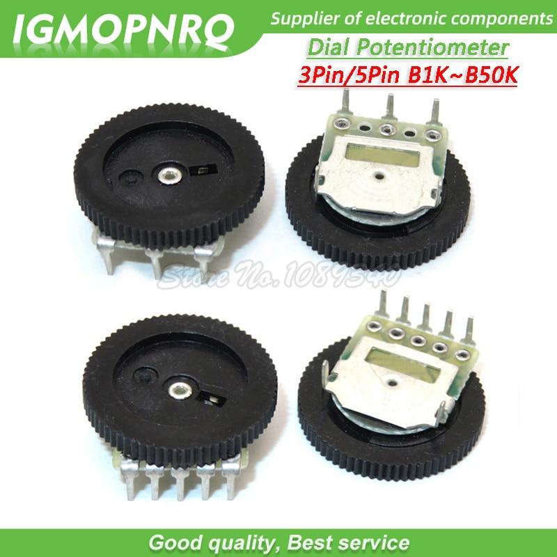 10 Uds potenciómetro de esfera B102 B103 B203 B503 B1K B10K B20K B50K 3Pin/5Pin 16*2mm doble engranaje de ajuste potenciómetro IGMOPNRQ