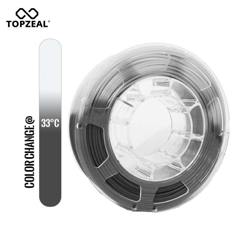 TOPZEAL 3D طابعة PLA خيوط درجة الحرارة تغيير اللون ، 1 كجم بكرة ، 1.75 مللي متر ، رمادي إلى الأبيض ، الأبعاد دقة +/-0.05