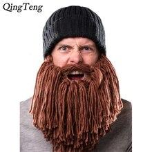 2019 Mens Barbarian Vagabond Viking Beard Beanie Horn Hats Handmade Winter Warm Birthday Cool Gifts Funny Gag Halloween Cap