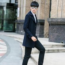Casual single-breasted woolen coat men trench coats long sleeves overcoat mens cashmere coat casaco masculino england dark blue