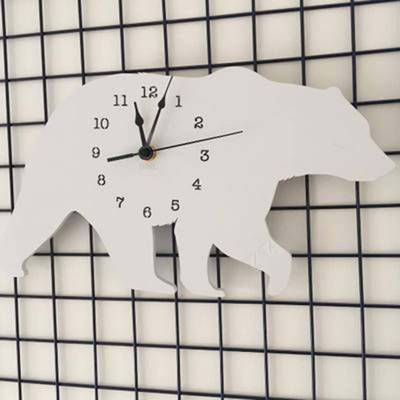 Oso Polar niños silueta vivero Reloj de pared monocromo para niños habitación decoración figuritas regalo fotografía Accesorios