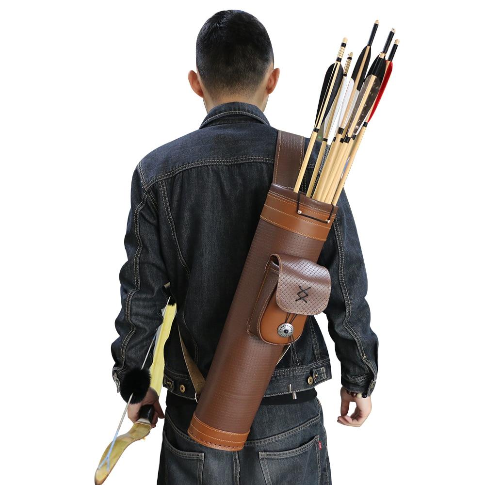 Сумка-колчан из натуральной кожи для спортивной стрельбы, Охотничьи Аксессуары для верховой езды, коричневый держатель для стрел с бантом, ...