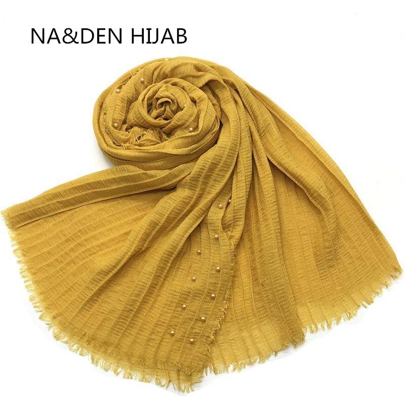 Perlas de moda de la bufanda de las mujeres de mujer de bufandas invierno bufanda chal viscosa elegante musulmán envolver 10 unids/lote nave rápida