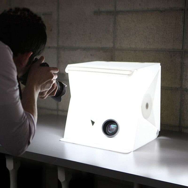 Macia com Luz Box para Câmera Portátil Dobrável Estúdio Difusa Caixa Led Preto Branco Fotografia Fundo Photo Studio Dslr