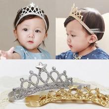 Baby Star Crystal Crown Headband Soft Elastic Fiber Girls Hair Band Headwear HSJ88