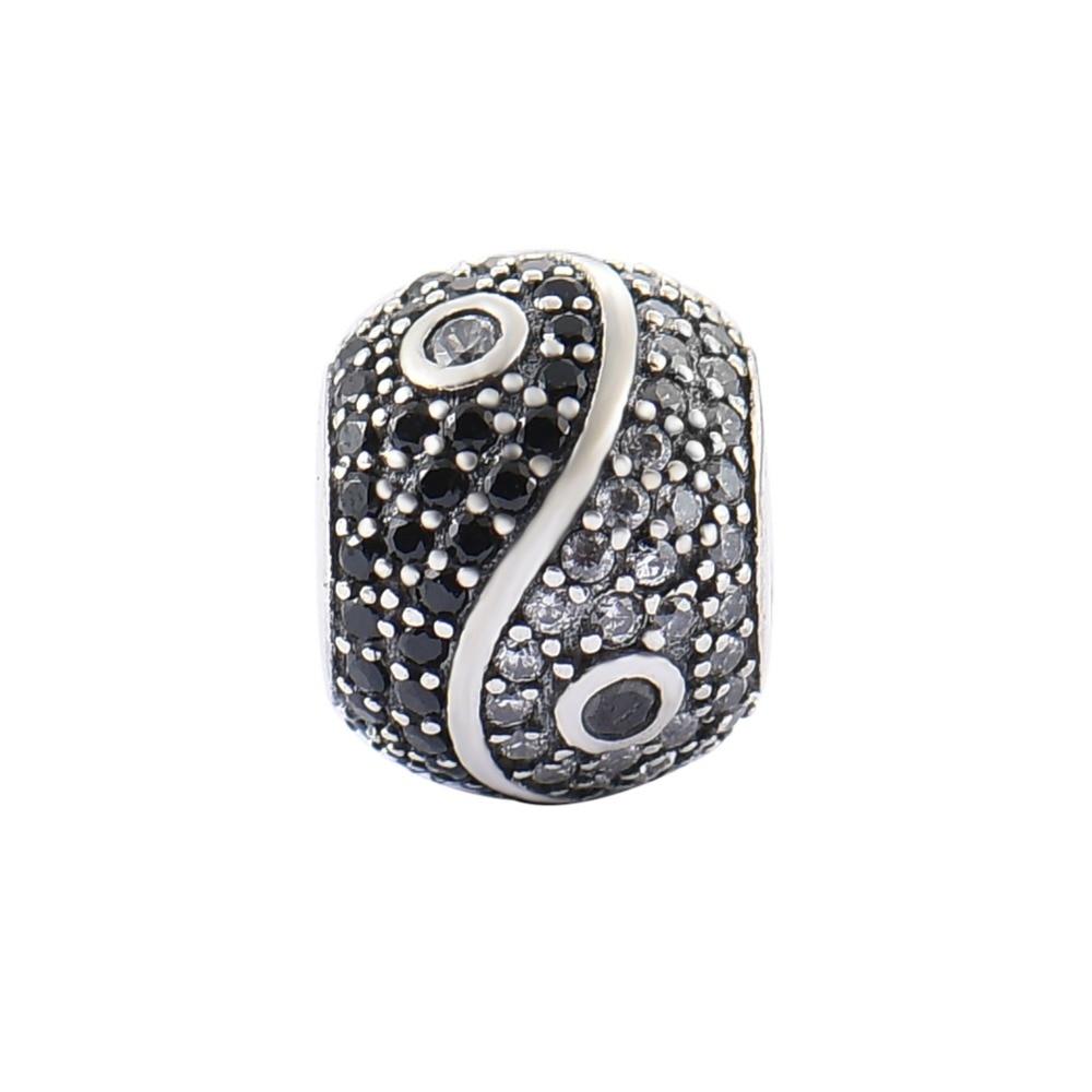 925 Sterling Silver Yin Yang Big Hole Crystal Beads Rhinestone Charms fit Pandora Bracelet Necklace Women Jewelry