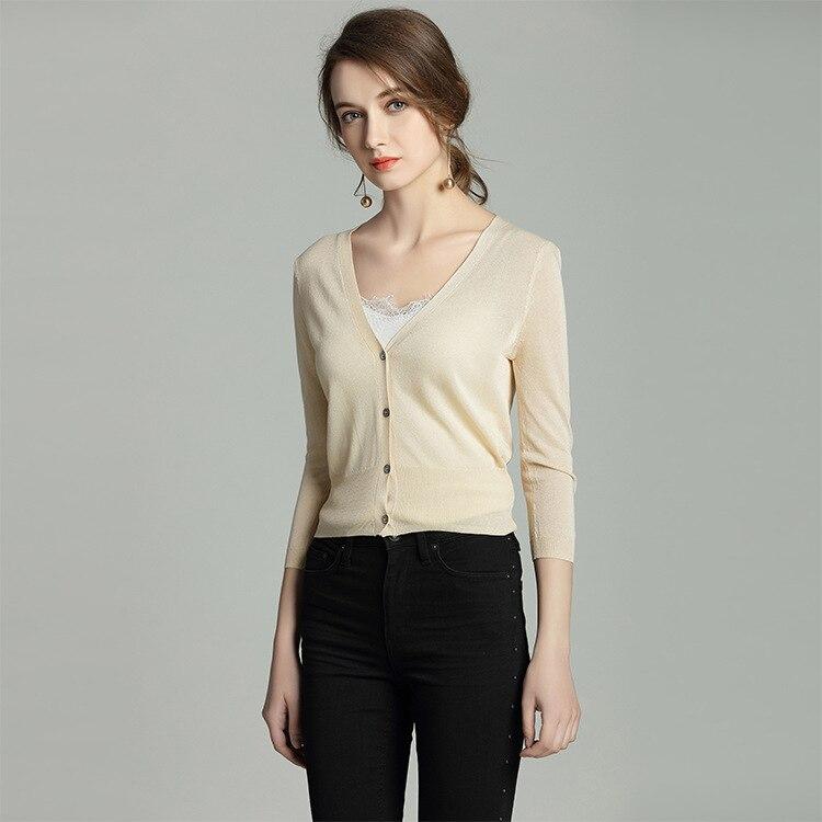 Alta qualidade decote em v malha fina topos proteção solar ultra-fino pequeno cardigan curto 3/4 manga superior colheita botão feminino moda 2019
