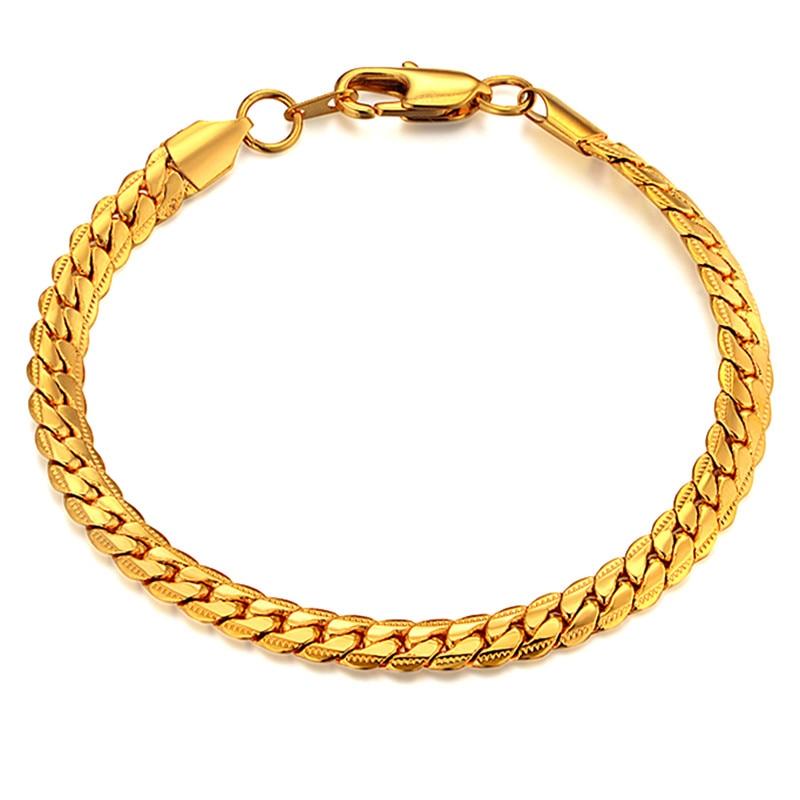 Pulsera con cadena para hombre, joyería para hombre, pulsera con eslabones de cadena de serpiente de Color dorado 2020 para hombre, joyería para hombre, pulseras, brazaletes amp