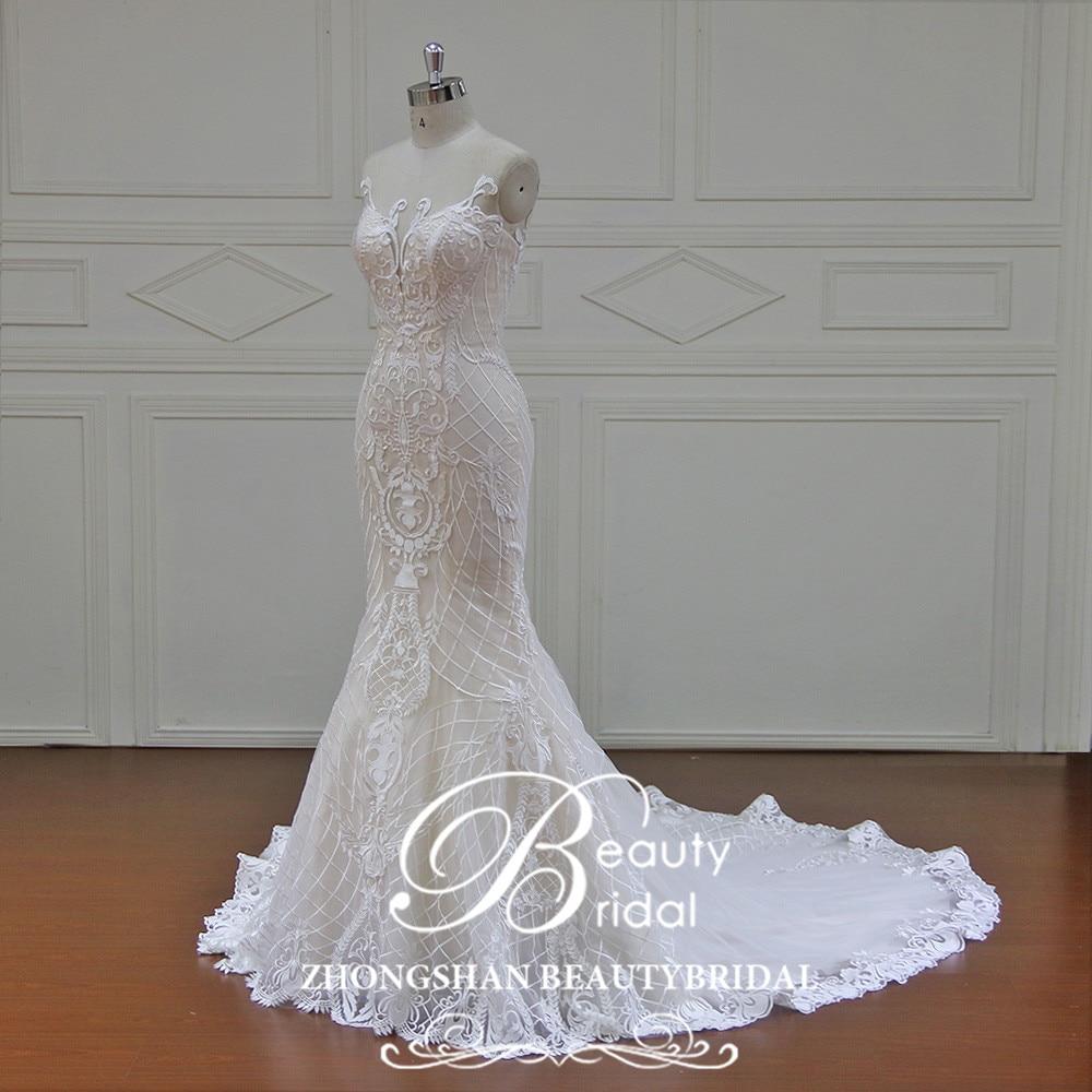 Beauty Bridal 100% Real Photos Robe Mermaid Luxury Bride Dresses Royal Train Off the Shoulder Wedding Dress lace 2019 XFB7002