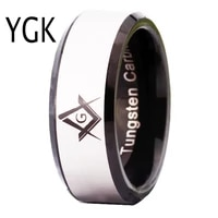 ygk brand jewelry 8mm black beveled masonic master freemason mason mens tungsten wedding ring for men and women