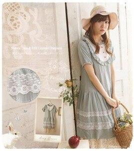 Japanese Cute Mori Girl Lolita Rockabilly Embroidered Lolita Hippie Sweet Lace Patchwork Cotton Linen Crochet Women Summer Dress