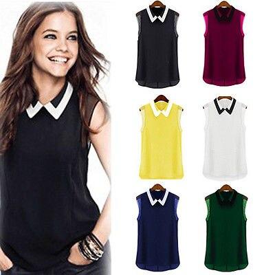 Mujer verano suelto sin mangas de gasa informal chaleco camisa Tops blusa estilo europeo camiseta sin mangas