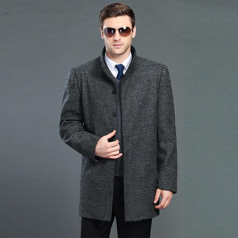 New arrival Mandarin collar men's clothing autumn and winter elegant design business wool coat plus size outerwear