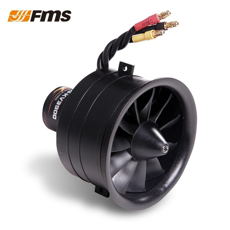FMS nuevo modelo RC piezas de avión motor sin escobillas 64MM 11 hojas de plástico conducto grupo de potencia con Motor 3 s/4S opcional