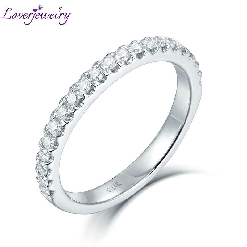 LOVERJEWELRY-خاتم زواج من الذهب الأبيض مرصع بالألماس ، خاتم كلاسيكي ، 14 كيلو طن ، تصميم بسيط ، هدية للمرأة
