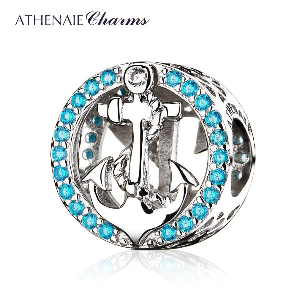 ATHENAIE, Popular, Plata de Ley 100% 925, símbolo de estabilidad, ancla, abalorios azules para pulsera, joyería de moda para mujer