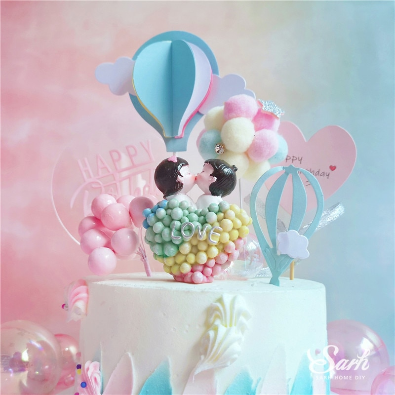 Decoración Para tarta de Feliz cumpleaños de niña y niño, decoración para parejas de besos ostentosos, suministros para fiestas de bodas y San Valentín, regalo dulce para hornear
