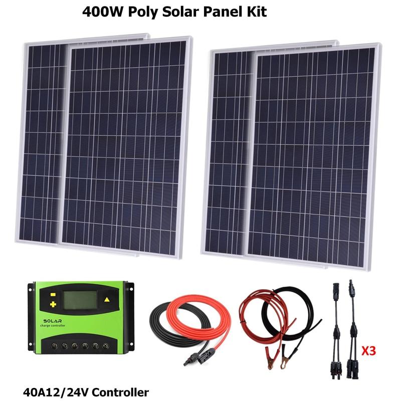 مجموعة الألواح الشمسية متعددة الكريستالات 400 وات ، وحدة تحكم الشحن بالطاقة الشمسية LCD 40A PWM ، كابل الطاقة الشمسية ، كابل البطارية ، موصل Y