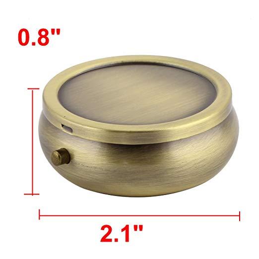 Metal Round Shaped 3 Grid Moistureproof Medicine Holder Pill Storage Box Bronze Tone