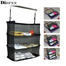 DIHFXX 3 Strati Portatile Da Viaggio di Stoccaggio Vestiti Cremagliera di Immagazzinaggio Del Supporto del Sacchetto Della Maglia Gancio Appeso Dellorganizzatore Valigia accessori Da Viaggio