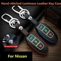 luminous leather car key cover case for nissan qashqai j11 x trail t30 t31 t32 pathfinder tiida teana note juke 2014 2015 2016