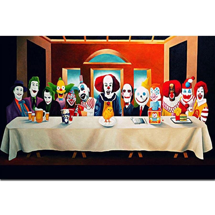 FX2365, payaso, Joker, Pennywise, la última funda para artista cómico, Póster Artístico, lienzo ligero de seda, decoración de pared de la habitación del hogar con impresión
