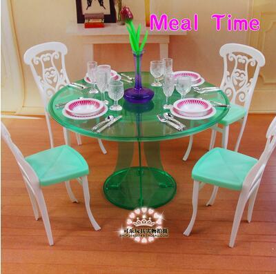 for barbie restaurant Furniture Kitchen Burger Fast Food Restaurant Doll House Girl Birthday Gift DIY Toys Accessories Sets