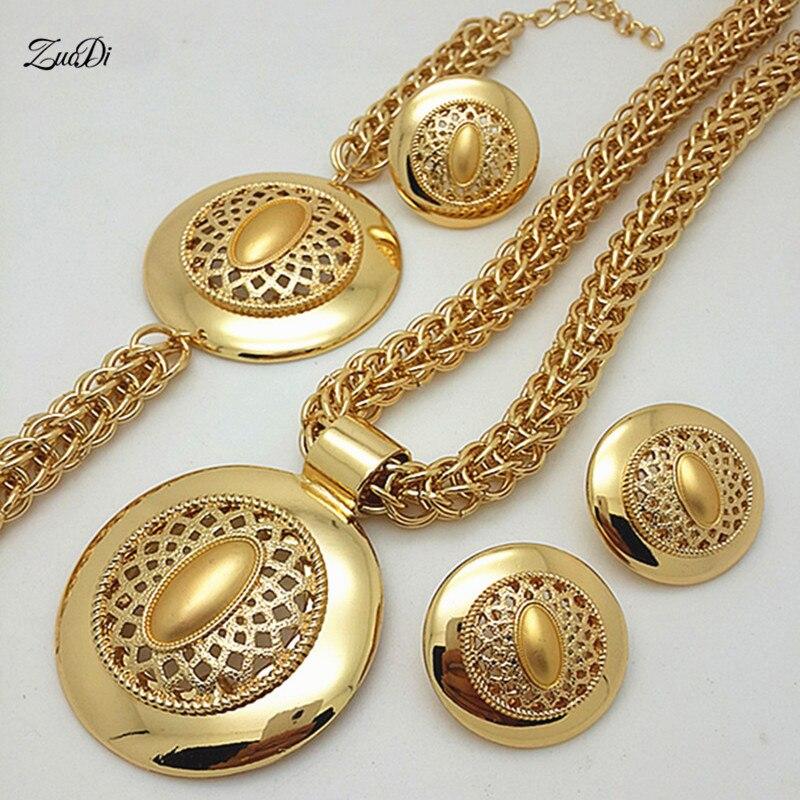 Набор ювелирных изделий ZuodDi, комплект ювелирных изделий золотого цвета в Дубае для женщин, аксессуары для свадьбы, комплект ювелирных изделий с африканскими бусинами