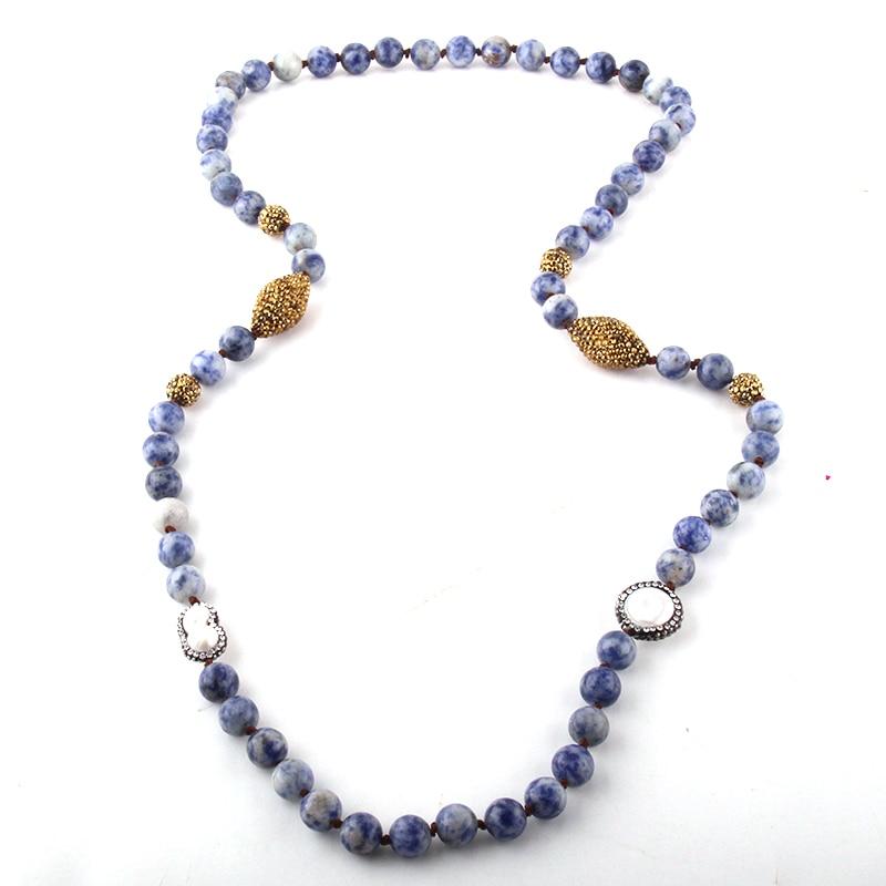Collar étnico empedrado joyería Tribal Bohemia piedras azules naturales moda