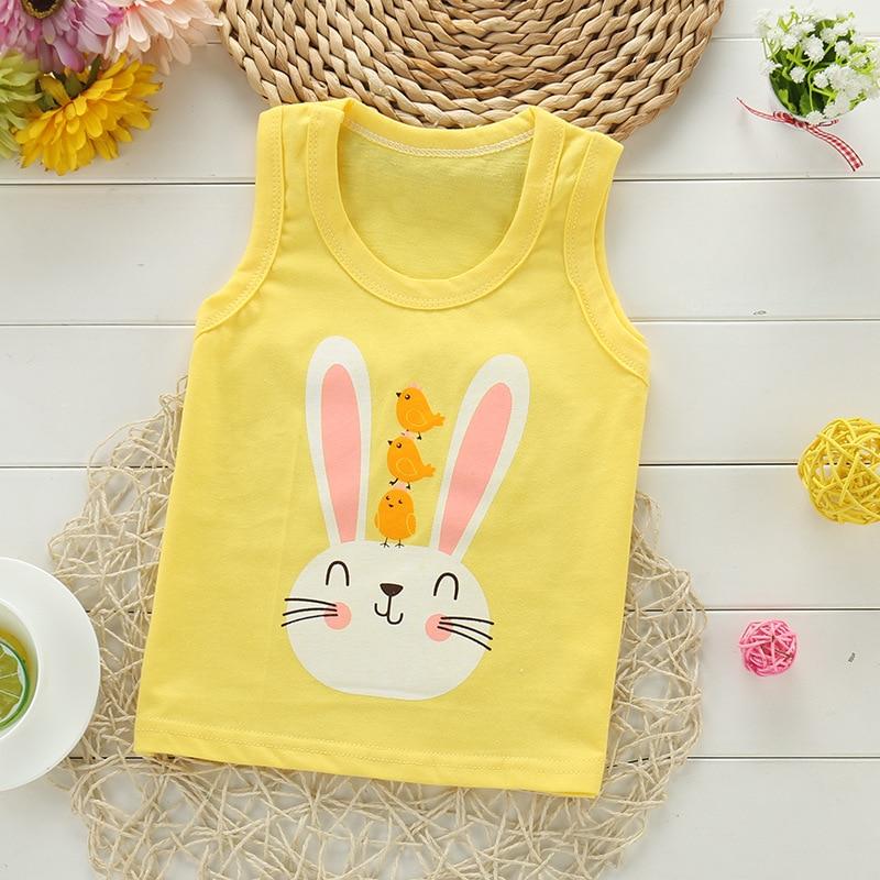 2020 novo verão bebê meninos camisetas de algodão crianças roupas t camisa dos desenhos animados coelho bebê menina sem mangas tshirt unicom meninas topos