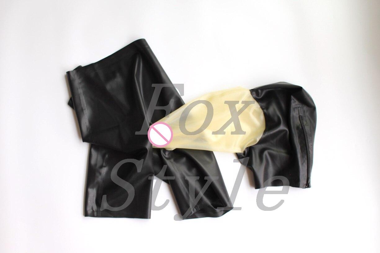 Exótico de goma de látex capuchas conectar pantalones cortos bragas con sexy trasparent