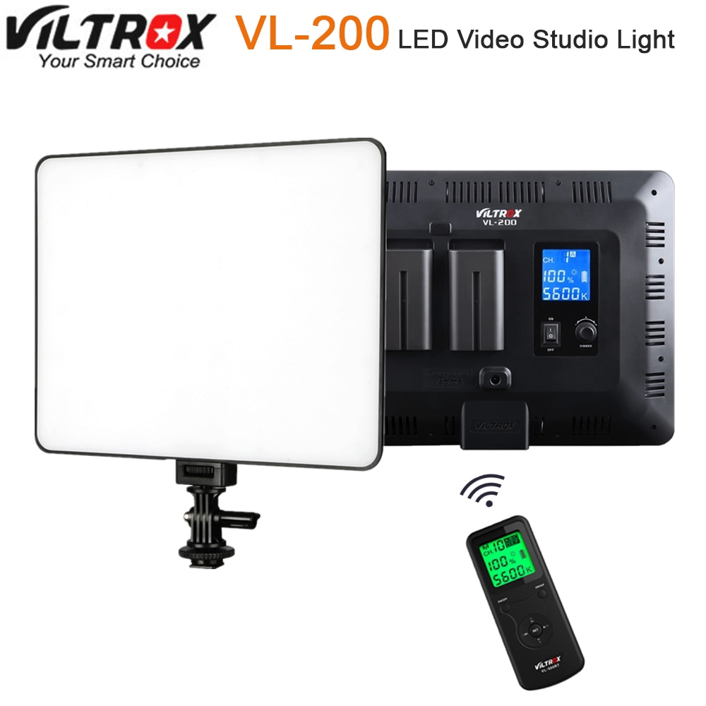 Viltrox VL-200 pro controle remoto sem fio led luz de estúdio de vídeo lâmpada magro bi-color pode ser escurecido + adaptador de energia ca para câmera de vídeo