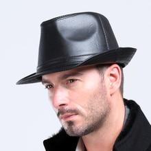 Men's100% Genuine Leather Sheepskin Hat Male Leisure Cowboy Hat Fashion Gentleman British 100% Suede Leather Jazz Cap  B-3774