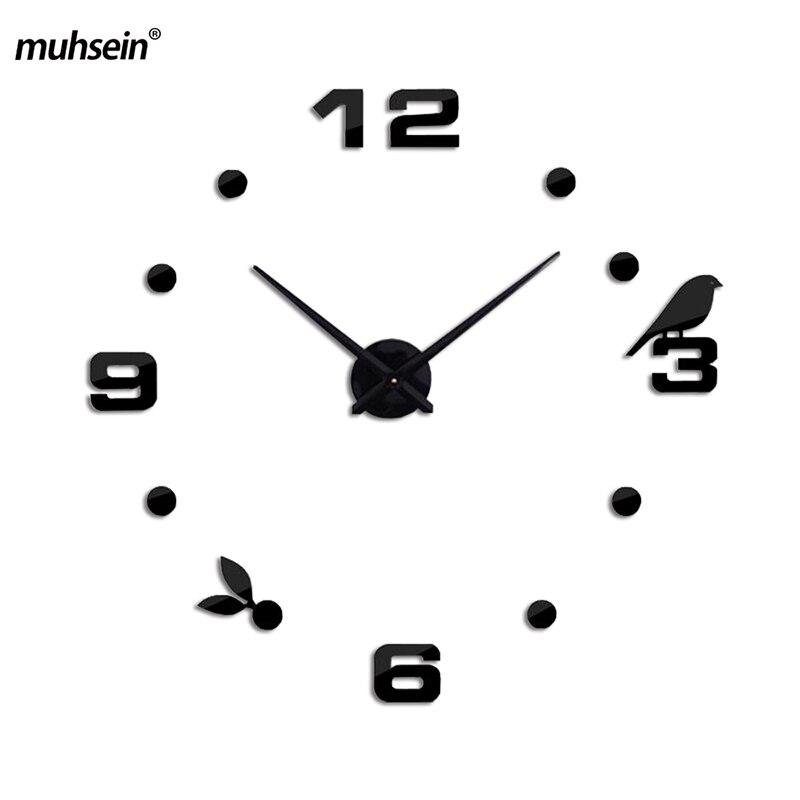 Muhsein 2020novo moderno diy gato preto pássaro relógios de parede quartzo decoração da sua casa sala estar criativo espelho relógio parede frete grátis