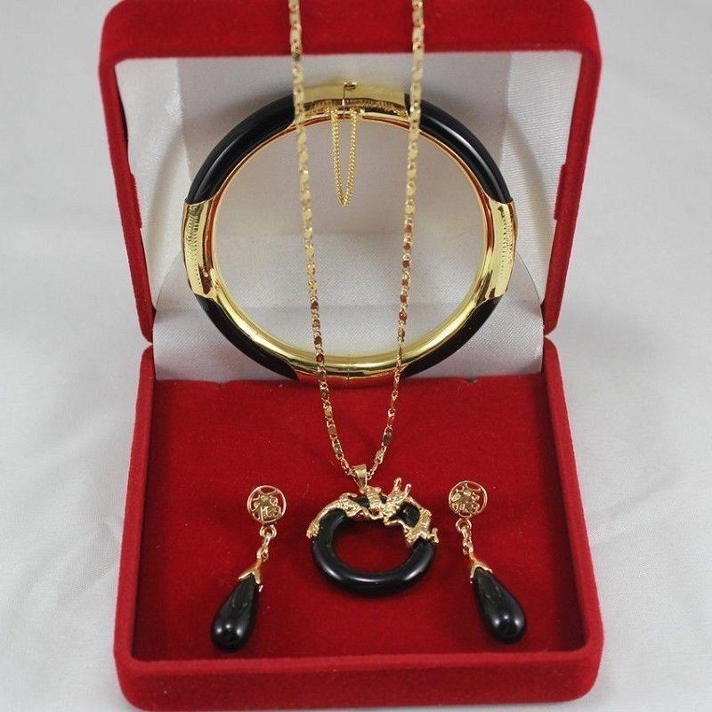 Оптовая цена 16new ^ Красивая Мода черный камень soild дракон кулон серьги браслет набор AAA