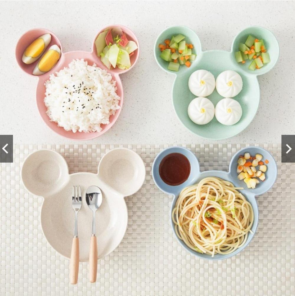 ילד מיקי קערת מנות קריקטורה עכבר הצהריים תיבת ילד תינוק ילדי תינוקות תינוק אורז האכלת קערת פלסטיק חטיף צלחת כלי שולחן