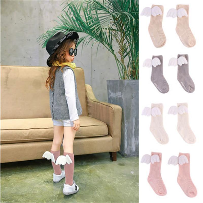 Calcetines de bebé de moda 2018 con alas de Ángel calcetín infantil recién nacido otoño primavera niños calentadores de piernas bebé antideslizante calcetines de las niñas