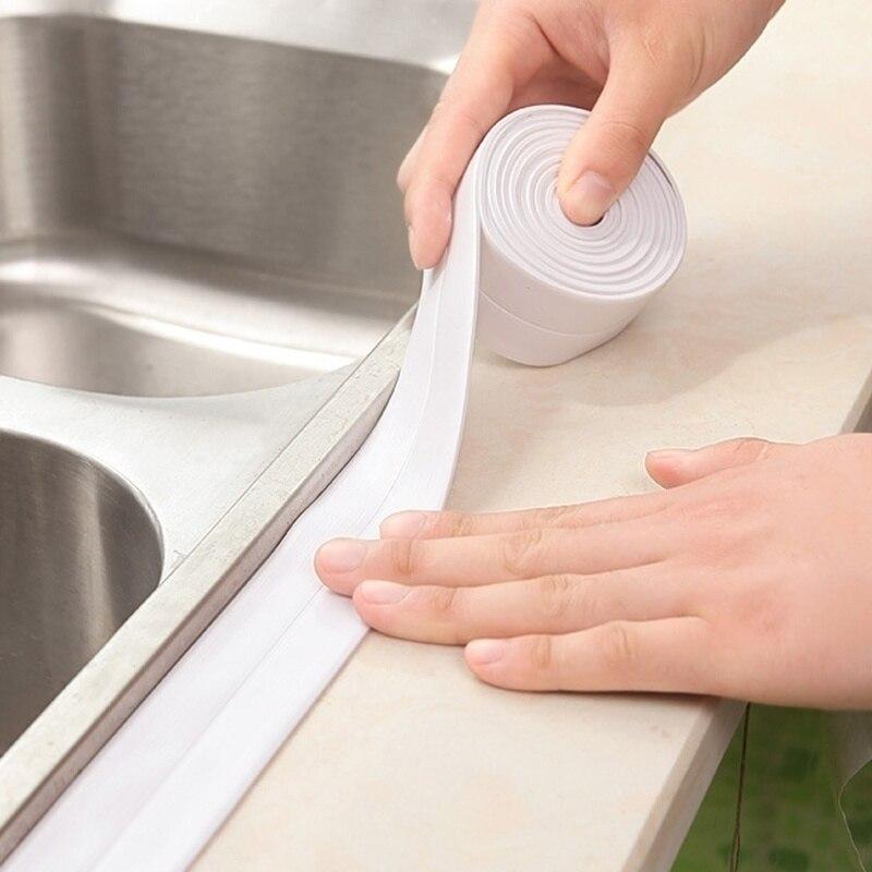 Cozinha pia do banheiro bacia bandejas de chuveiro borda canto junção impermeável vedação fita adesiva proteger adesivo papel contato
