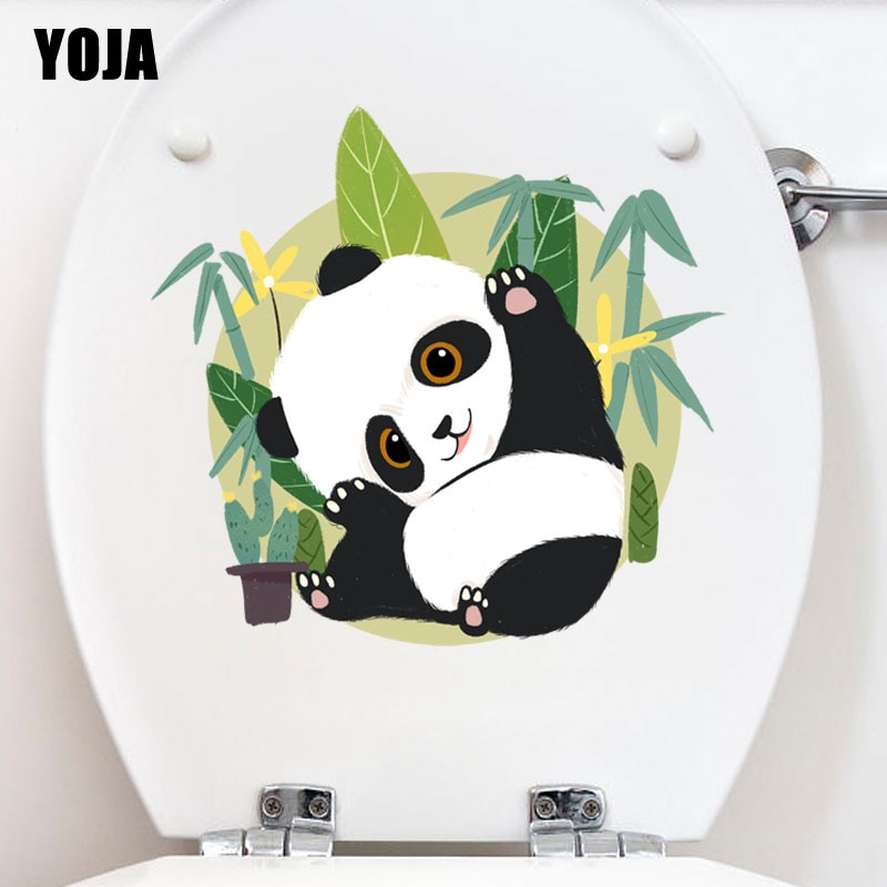 YOJA 24.9X23.5CM moderno divertido Panda calcomanía de baño Adhesivo de pared dormitorio decoración del hogar T3-1103