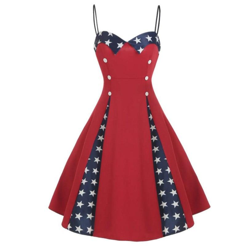 Vestido de mujer con tiras de espagueti estampado Estrella Roja 2019 verano Sexy sin espalda Vintage Pin up playa vestido de verano Vestidos