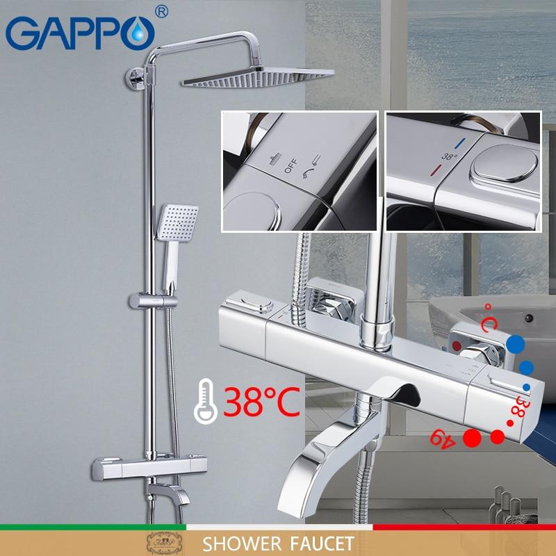 GAPPO bathtub Faucets Auto-Thermostat Control shower faucets bath mixer rain shower set waterfall ba