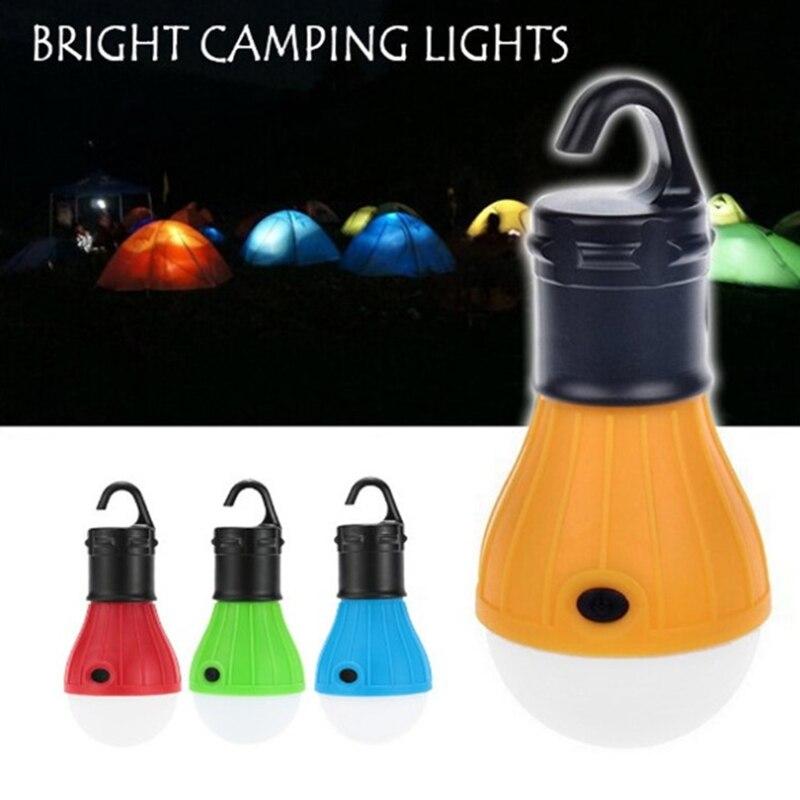 Mini linterna portátil para exteriores, bombilla LED, lámpara de emergencia, impermeable, linterna con gancho para colgar, accesorio para tienda de campaña