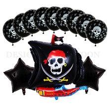 13 unids/lote nuevo dibujos animados Barco Pirata globo aluminio Festival Fiesta de globo de 18 pulgadas globo de esqueleto de 3,2g de látex de la ducha de bebé