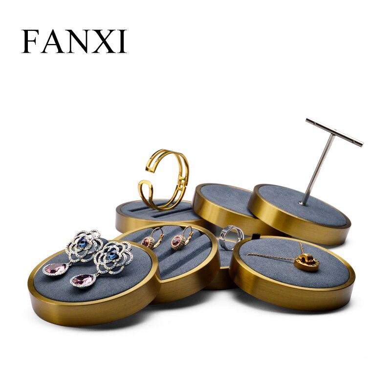 FANXI nueva pendiente de Metal con soporte de apoyo claro y Mate joyería anillo titular organizador expositor