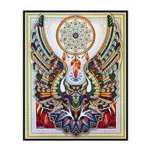 5D spécial carillon éolien à motif de hibou   Peinture diamant, image broderie en diamant, décoration de maison, animal de bricolage, 40x50 cm